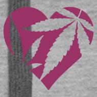 Motiv ~ Cannabis Herz (rot/sparkle) Frauen Kaputzenpullover