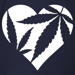 White/red Cannabis / Marijuana Hemp Love Heart Men's T-Shirts - Men's Baseball T-Shirt