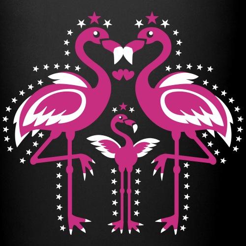 Glückliche Flamingos Familie mit Kind Liebe Glück