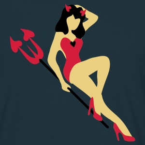 Navy retro pin up she devil T-Shirts - Männer T-Shirt
