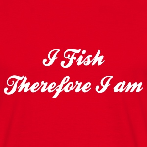 I Fish therefore i am Fishing T-Shirt - White Print - Men's T-Shirt