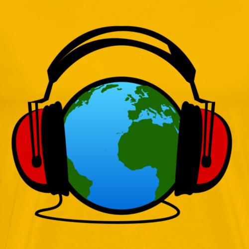 Erde hört Kopfhörer