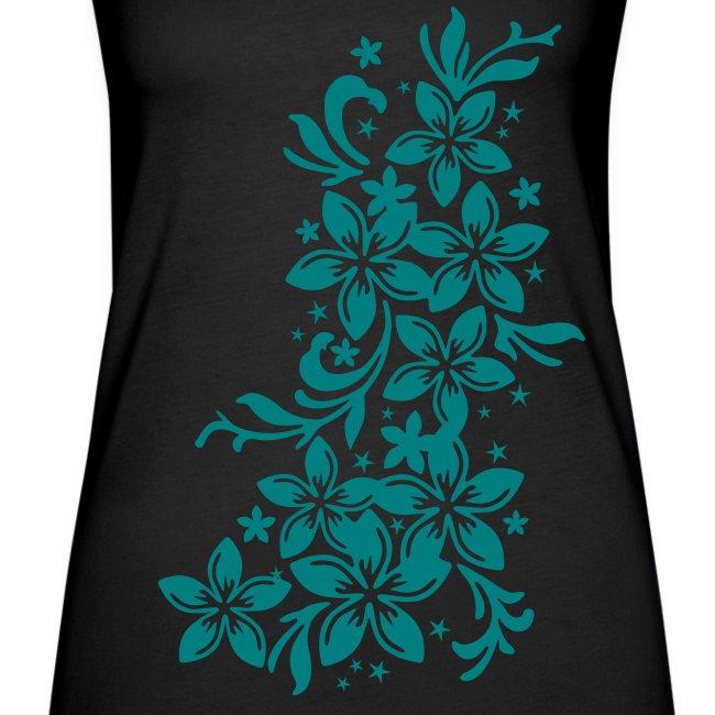 schwarzes schulterfreies Frauen-Tank Top mit Blüten und Sternchen einfarbig
