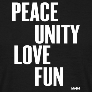 Schwarz peace unity love fun by wam T-Shirts - Männer T-Shirt