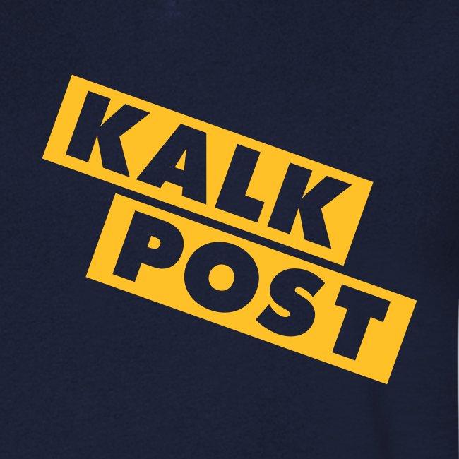 Dunkelblaues Shirt mit Flexdruck gelb Kalk Post Balken