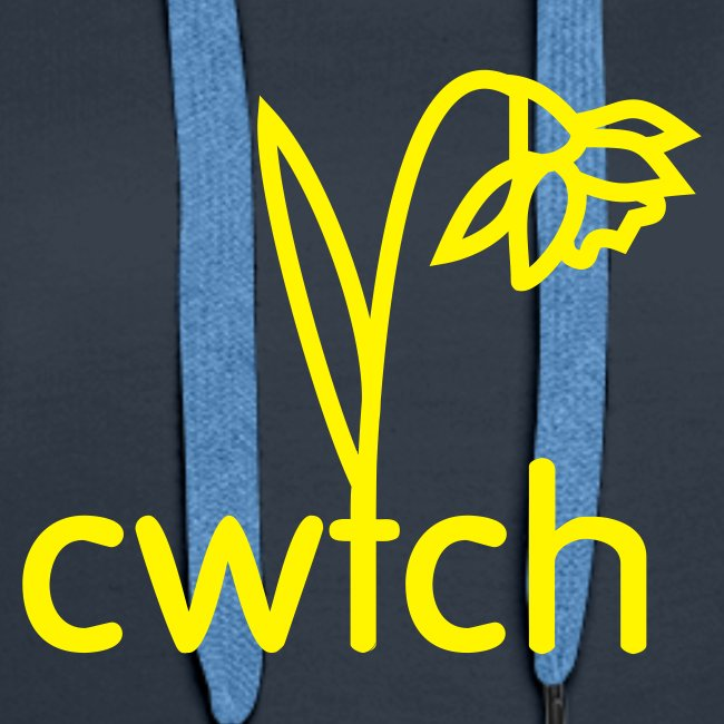 Ladies hoody cwtch daffodil yellow front