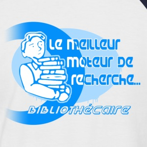 Blanc/marine Bibliothécaire T-shirts - T-shirt baseball manches courtes Homme