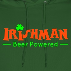 Green Beer Powered Irish Man Hoodies & Sweatshirts