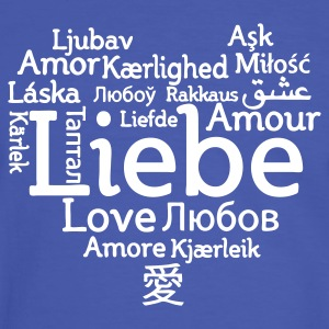 Blue/white Love international Men's T-Shirts - Men's Ringer Shirt