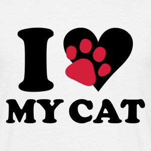 Blanco I love my cat - gato, gatos Camisetas - Camiseta hombre