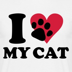 Wit I love my cat - kat, katten T-shirts