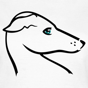 Blanco Windhund-Kopf / greyhound head (2c) Camisetas - Camiseta mujer