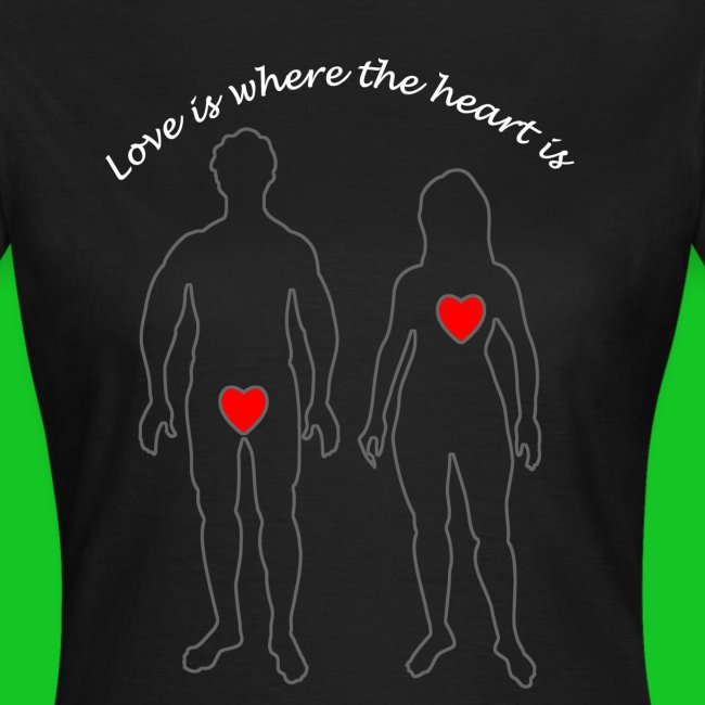 Love is where the heart is dames t-shirt