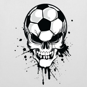 Bianco soccer skull kicker ball football pirat Borse - Borsa di stoffa
