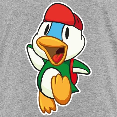 Süße kleine Ente springt vor Freude