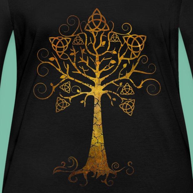 T-shirt bio manches longues arbre phare doré