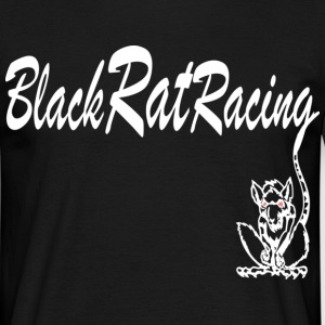 Black Rat Racing with tail through text - Men's T-Shirt