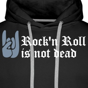 Noir rock'n roll is not dead Sweatshirts - Sweat-shirt à capuche Premium pour hommes