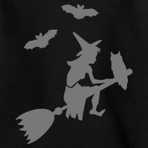 Zwart paardrijden heks een bezem / witch on her broomstick (1c) Kinder shirts - Teenager T-shirt