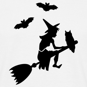 Wit paardrijden heks een bezem / witch on her broomstick (1c) T-shirts - Mannen T-shirt