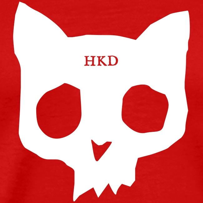 Cat Skull white on red