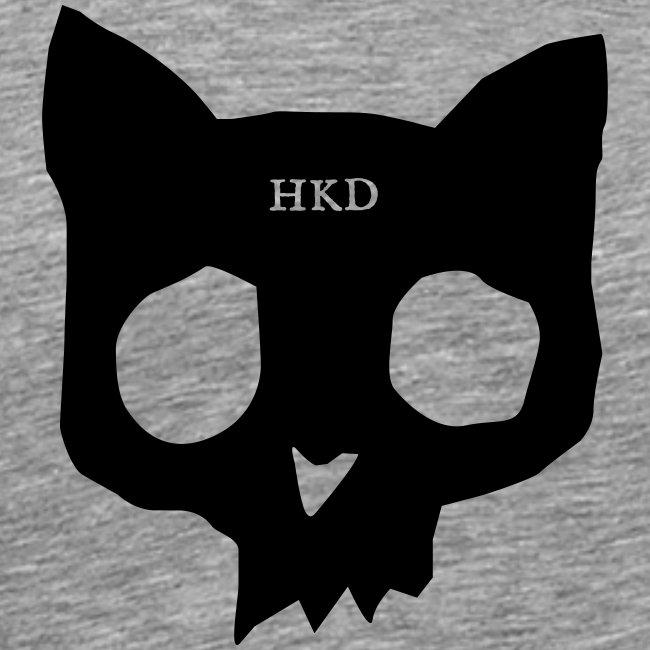 Cat Skull black on grey