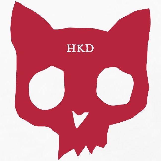 Cat skull long sleeve red on white