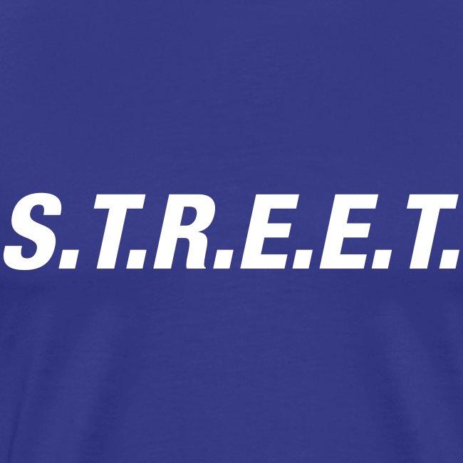 Street t-shirt white on purple