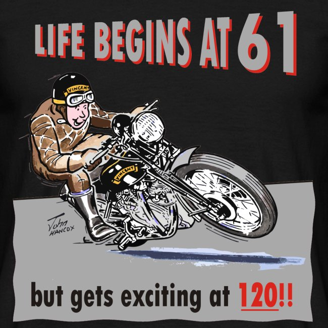 Life begins at 61 biker birthday t-shirt