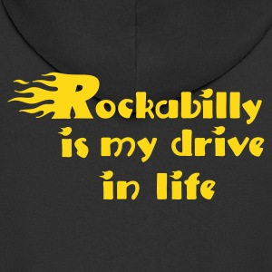 Black Retro rockabilly is my drive in life Coats & Jackets - Men's Premium Hooded Jacket