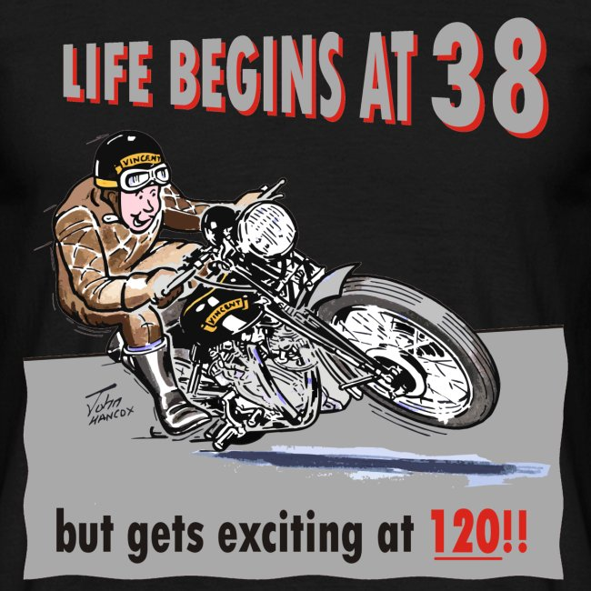 Life begins at 38 biker birthday t-shirt