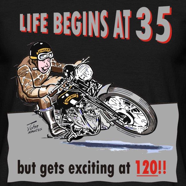 Life begins at 35 biker birthday t-shirt