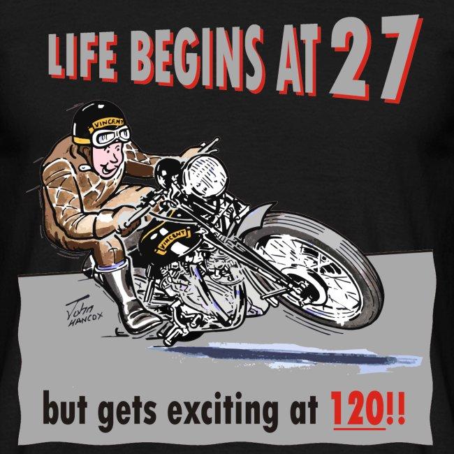 Life begins at 27 biker birthday t-shirt