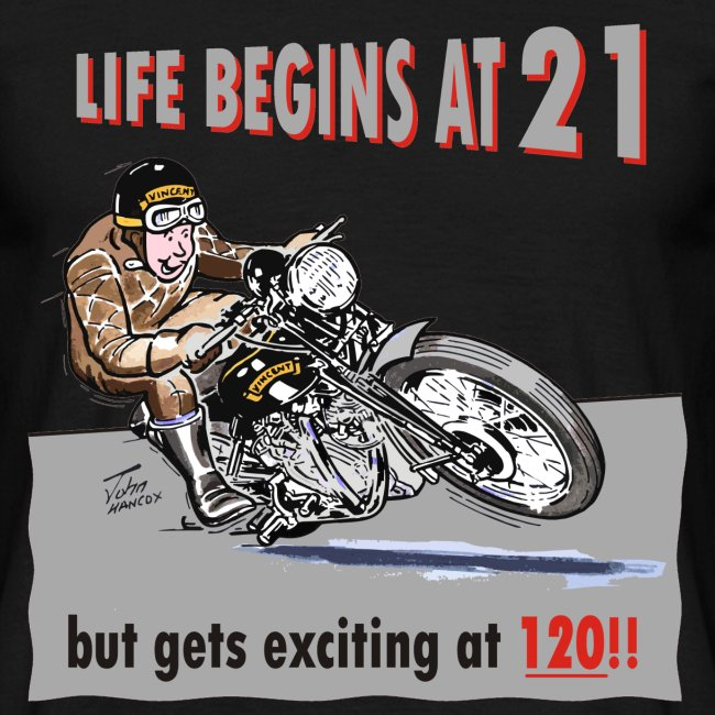Life begins at 21 biker birthday t-shirt