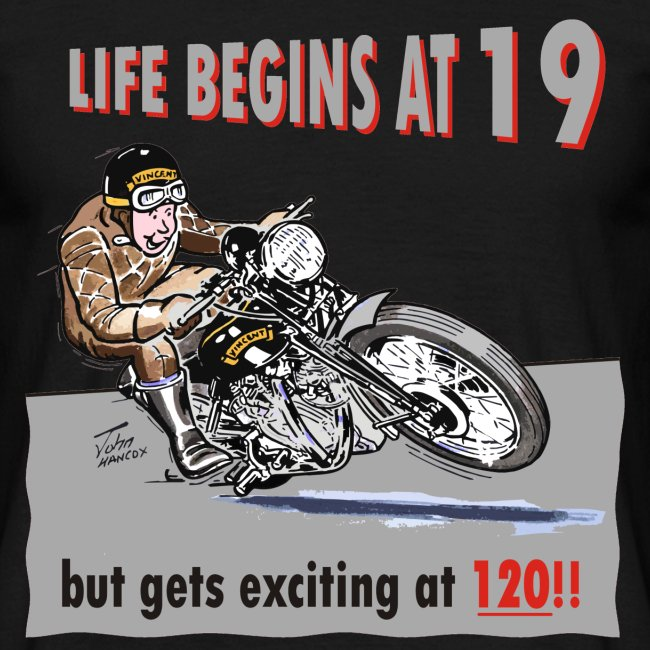Life begins at 19 biker birthday t-shirt