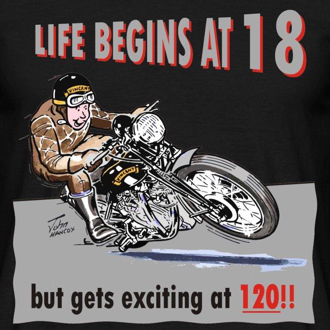Life begins at 18 biker birthday t-shirt
