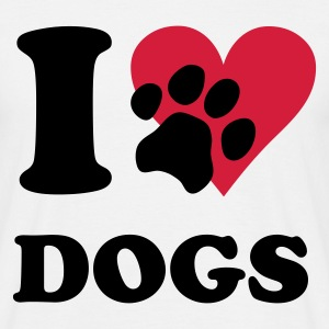 Wit I love dogs - hond, honden T-shirts - Mannen T-shirt