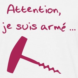 Blanc attention je suis armé T-shirts - T-shirt Homme