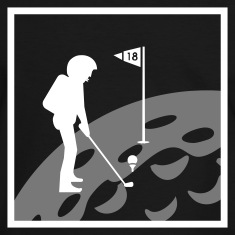 Black/white Golf: Mondloch 18 / hole 18 on moon (2c) Men's T-Shirts