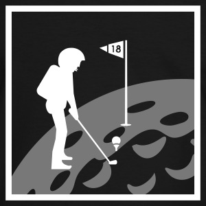 Sort/hvid Golf: hul 18 på månen / hole 18 on moon (2c) T-shirts - Herre kontrast-T-shirt