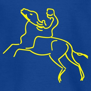 Royalblau Jockey auf einem Rennpferd / jokey on race horse (lines, 1c) Kinder T-Shirts - Teenager T-Shirt