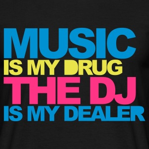 Svart Music Is My Drug V4 T-skjorter - T-skjorte for menn