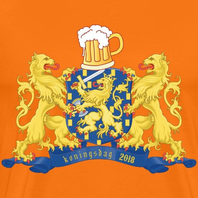 Oranje Koningsdag shirt met bier, leeuwen en jaartal