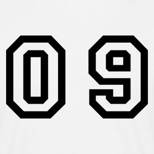 White number - 09 - zero nine Men's T-Shirts - Men's T-Shirt