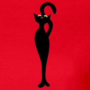 Rood Retro meow cat by Patjila T-shirts - Vrouwen T-shirt