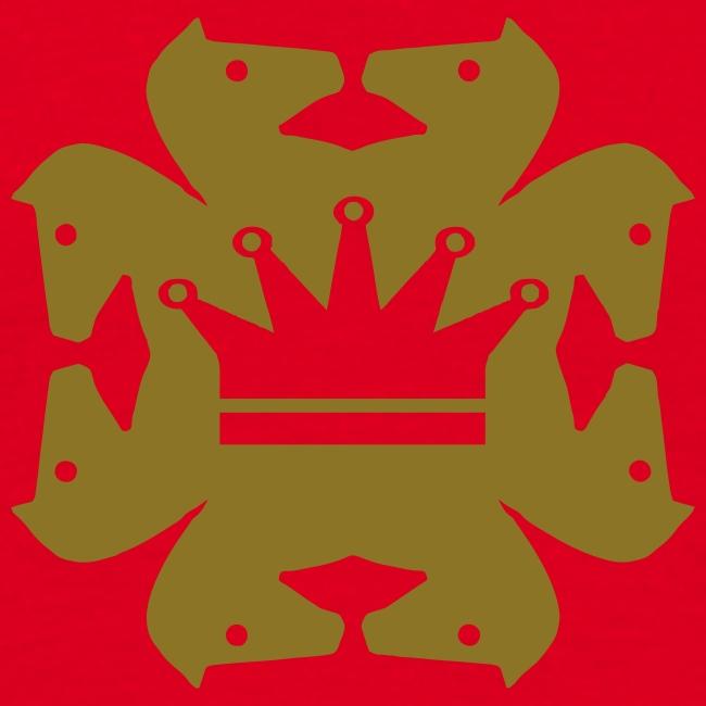 Acht Springer mit Krone gold metallic