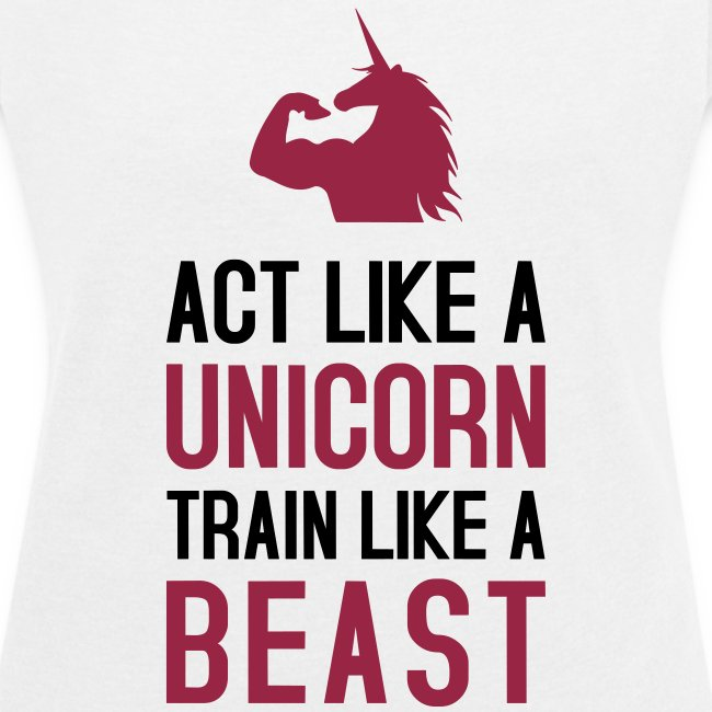 Act like a Unicorn - Frauen T-Shirt mit gerollten Ärmeln