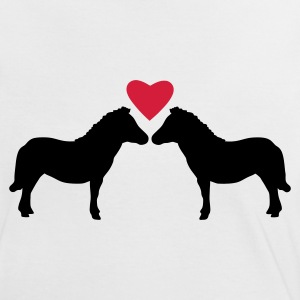 White/black Miniature Ponies Love Women's T-Shirts - Women's Ringer T-Shirt