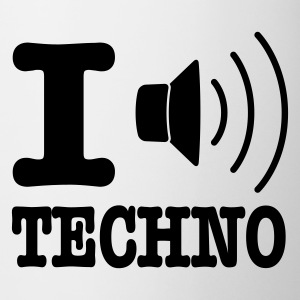 Hvid I love techno / I speaker techno Krus - Kop/krus