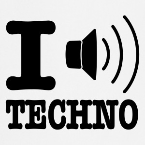 White I love techno / I speaker techno  Aprons - Cooking Apron